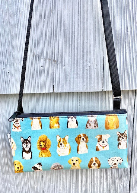 Mini Purse in Doggies in Blue