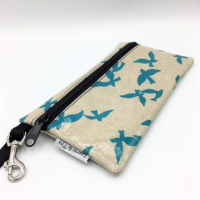 Large Wristlet in School of Blue Birds