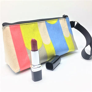 Makeup Bag in Gray Blue and Yellow