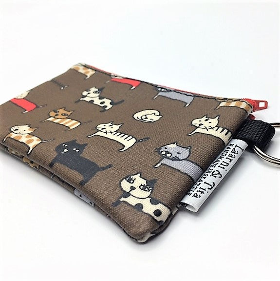 Coin Purse in Brown Cats