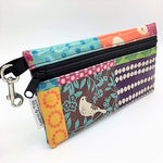 Large Wristlet in Cream Bird Patchwork