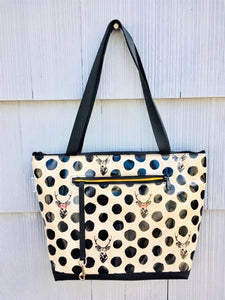 Lydia Tote in Cream Deer with Glasses