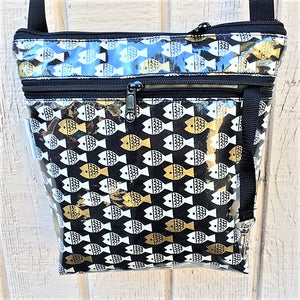 Medium Travel Purse in Gold Fish print