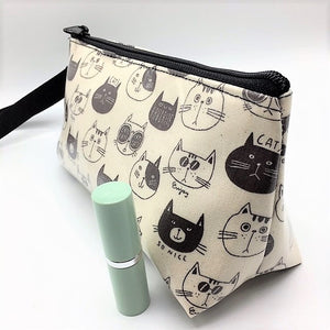 Makeup Bag in  Cats w/glasses in Cream