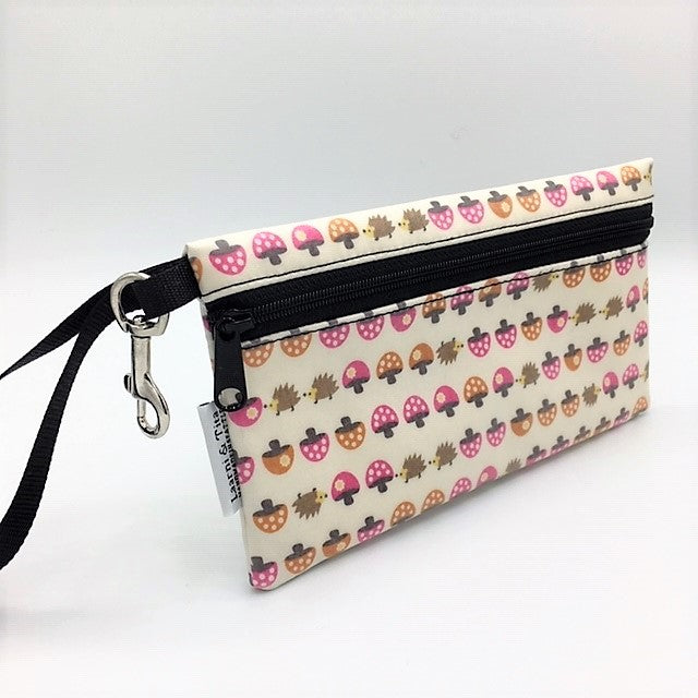 Large Wristlet in Mushroom and Hedgehog
