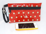 Medium Wristlet in Orange Polka Dot