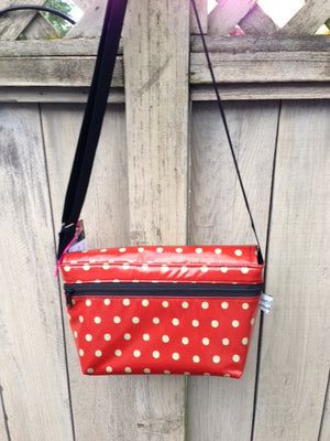 Short Messenger Bag in Orange Polka Dot