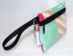 Large Wristlet in Cream Stripe
