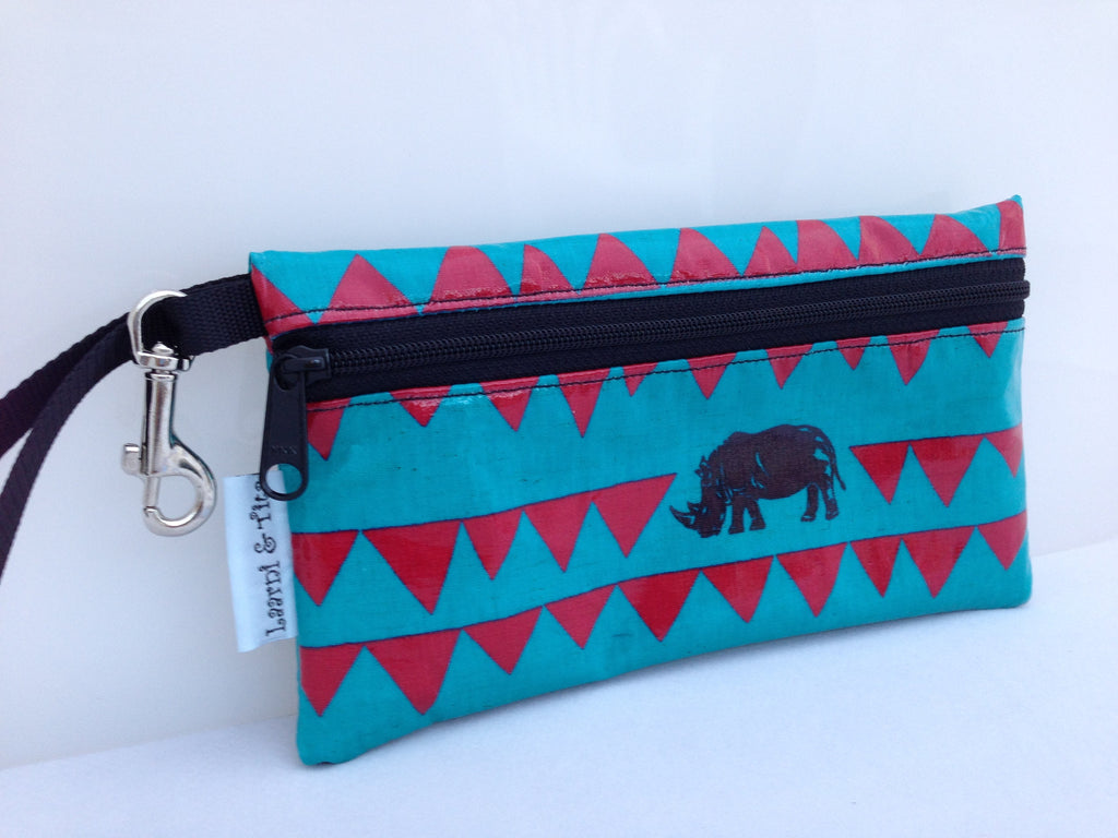 Large Wristlet in Blue Rhino