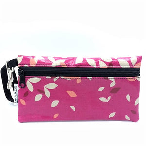 Large Wristlet in Pink Foliage