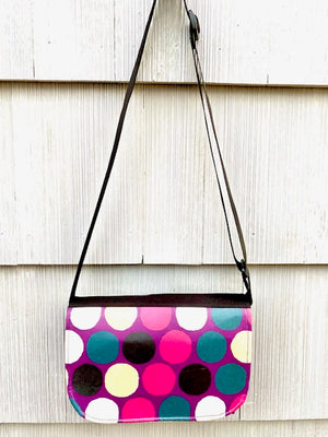 Short Messenger Bag in Purple Gold Dots