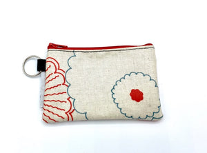 Coin Purse in Red Flowers