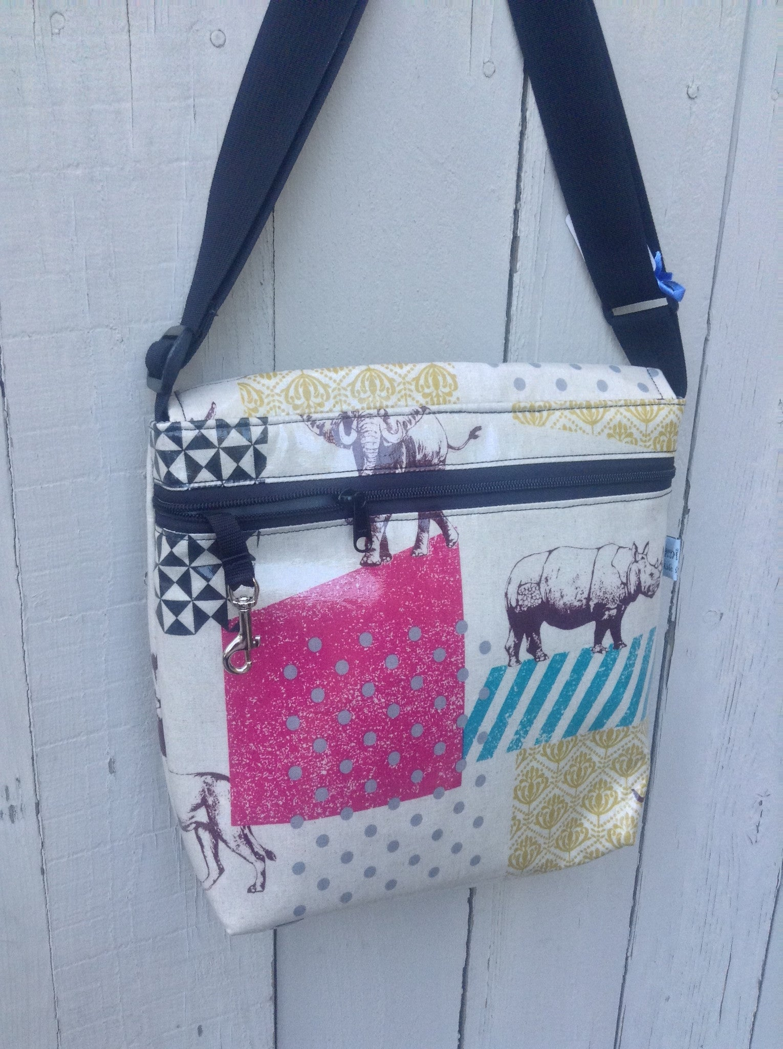 Tall Messenger Bag in Elephant and Friends