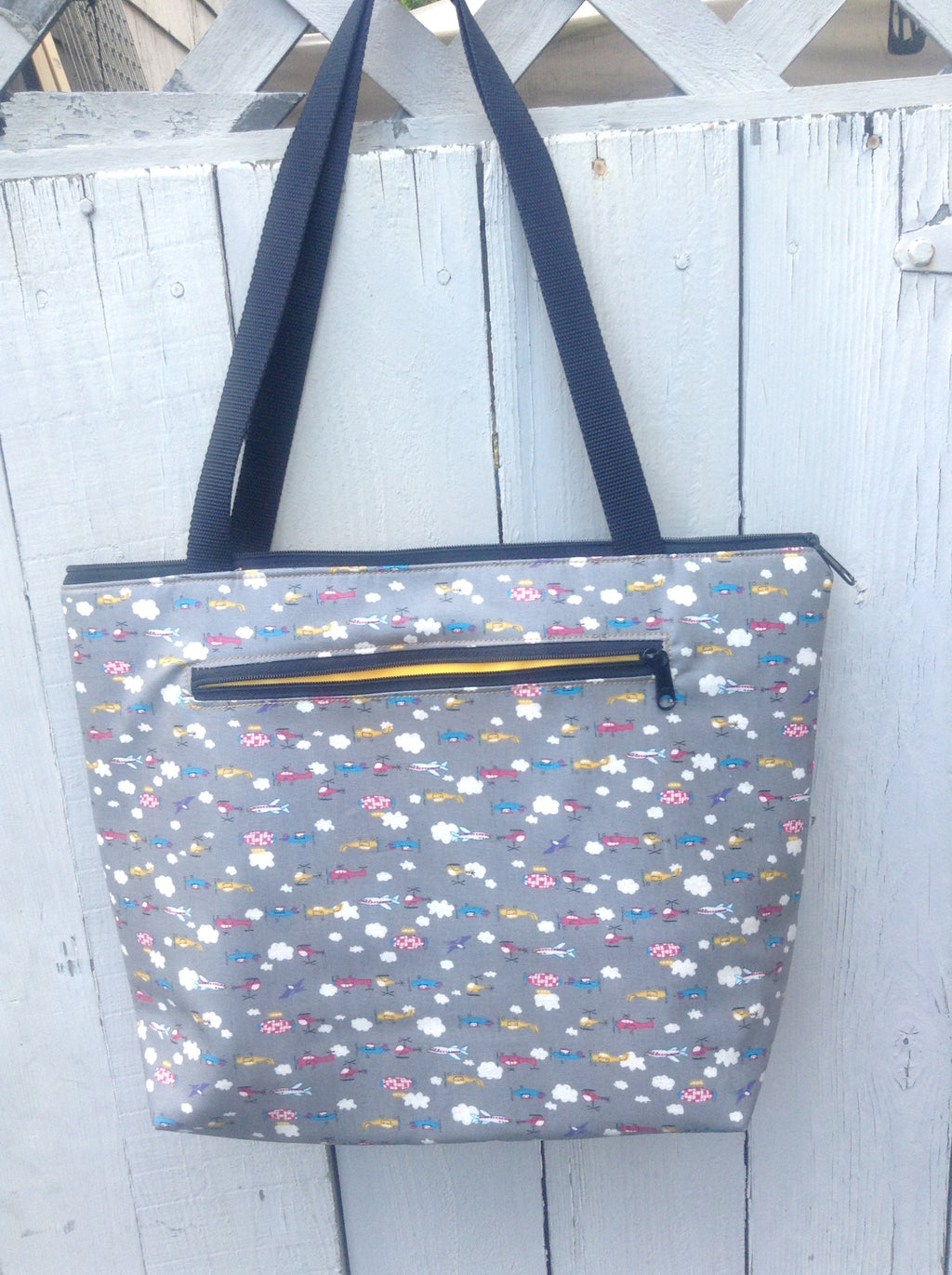 Lydia Tote in Gray Airplanes