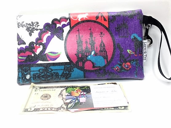 Large Wristlet in White Rabbit & Unicorn