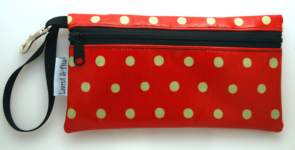 Large Wristlet in Orage Polka Dot