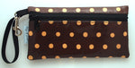 Large Wristlet in Brown Polka Dots