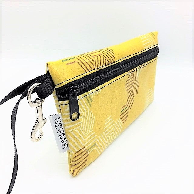 Large Wristlet in Yellow Hexagon