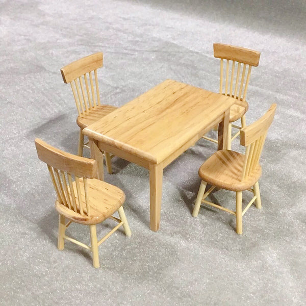 Dollhouse Miniature Dining Table Chair Wooden Furniture Set Gagama