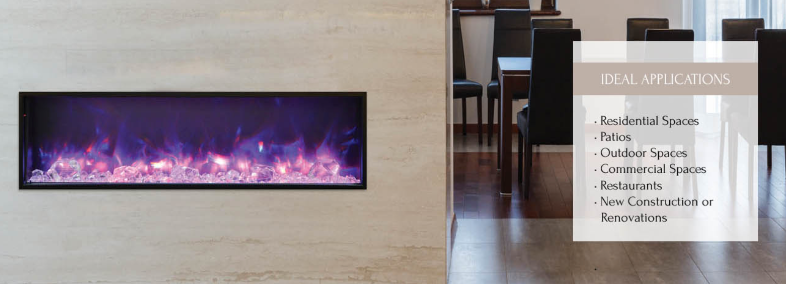 Amantii 50 Panorama Slim Electric Fireplace Indoor Outdoor