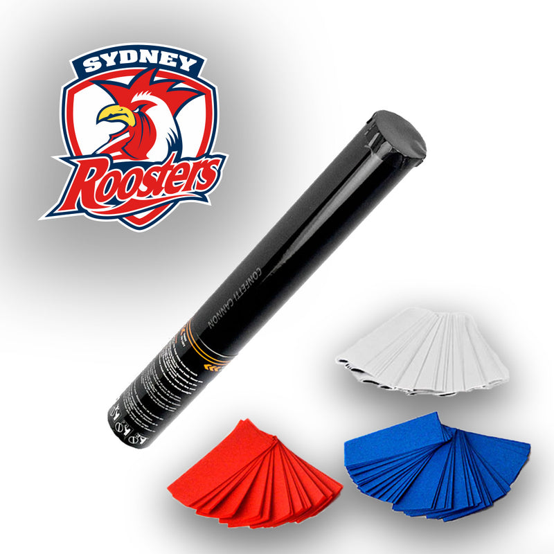 NRL Roosters Confetti and Streamer Cannons