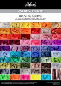 Ashford Corriedale 100g Solid Colour Fibre Pack colour swatches