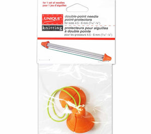 A package containing a Unique Double-Poin Needle Point-Protector size large in orange with green cord