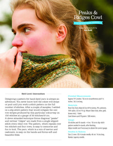 The front page of Peaks & Ridges Cowl Pattern