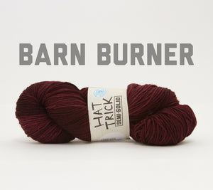 A skein of RCY Hat Trick Semi-Solid in Barn Burner