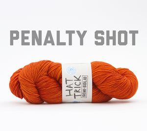 A skein of RCY Hat Trick Semi-Solid in Penalty Shot