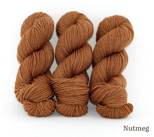 Three skeins of Ancient Arts Lascaux Worsted in Nutmeg