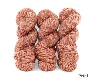 Three skeins of Ancient Arts Lascaux Worsted in Petal