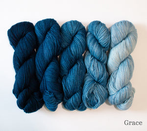 Five skeins of RCY Adam & Eve Gradients in Grace