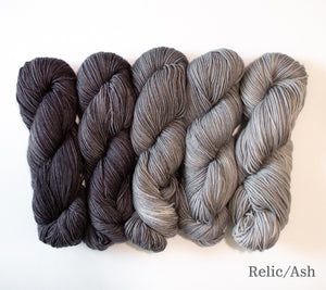 Five skeins of RCY Adam & Eve Gradients in  Relic/Ash