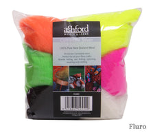 Load image into Gallery viewer, Ashford Corriedale 7 Colour Fibre Pack 100g in Fluro
