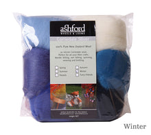 Load image into Gallery viewer, Ashford Corriedale 7 Colour Fibre Pack 100g in Winter