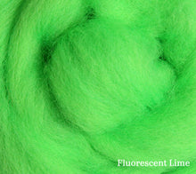 Load image into Gallery viewer, A close up of Ashford Corriedale 100g Solid Colour Fibre Pack in Fluorescent Lime