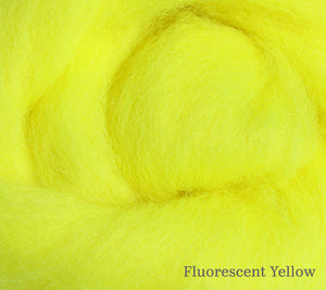 A close up of Ashford Corriedale 100g Solid Colour Fibre Pack in Fluorescent Yellow