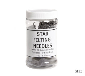 A container of Ashford Star Felting Needles