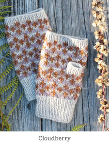 A pair of Cloudberry fingerless mitts
