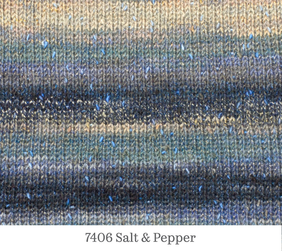 A close up of Berroco Sesame in 7406 Salt & Pepper