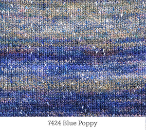 A close up of Berroco Sesame in 7424 Blue Poppy