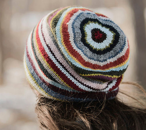 A female model wearing Blue Sky Fibers 21 Color Slouch Hat