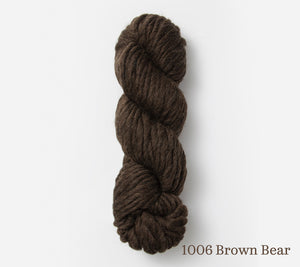 A skein of Blue Sky Fibers Bulky in 1006 Brown Bear