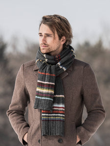 A male model wearing Blue Sky Fibers 21 Color Scarf