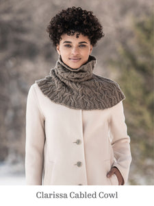 A model wearing Clarissa Cabled Cowl