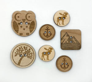 An assortment of brickbubble Wooden Buttons