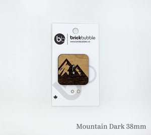 One brickbubble Wooden Button Mountain Dark colour 38mm