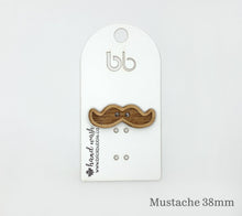 Load image into Gallery viewer, One brickbubble Wooden Button Mustache 38mm