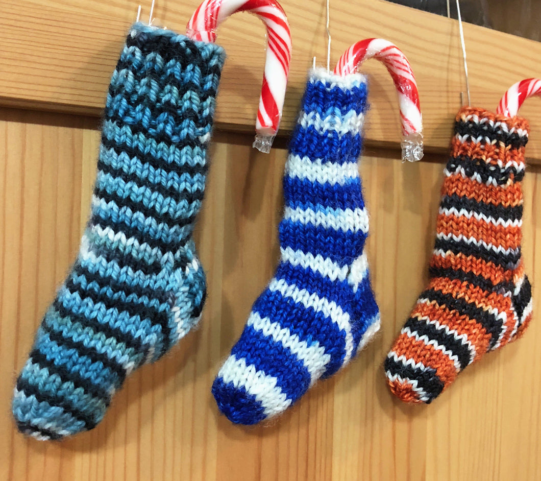 Three mini Christmas stockings